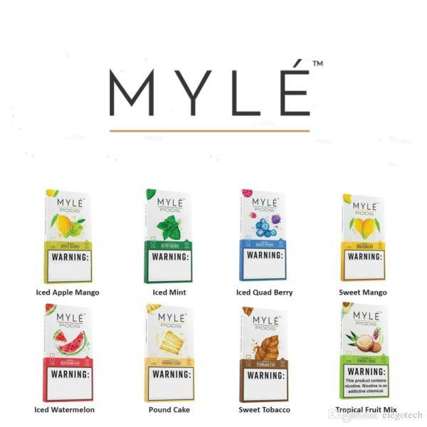 MYLE PODS: All Best Myle Pods with NEW FLAVOURs Iced Apple Mango, Iced Mint, Iced Quad Berry, Sweet Mango, Iced Watermelon, Pound Cake, Sweet Tobacco, Tropical Fruit Mix