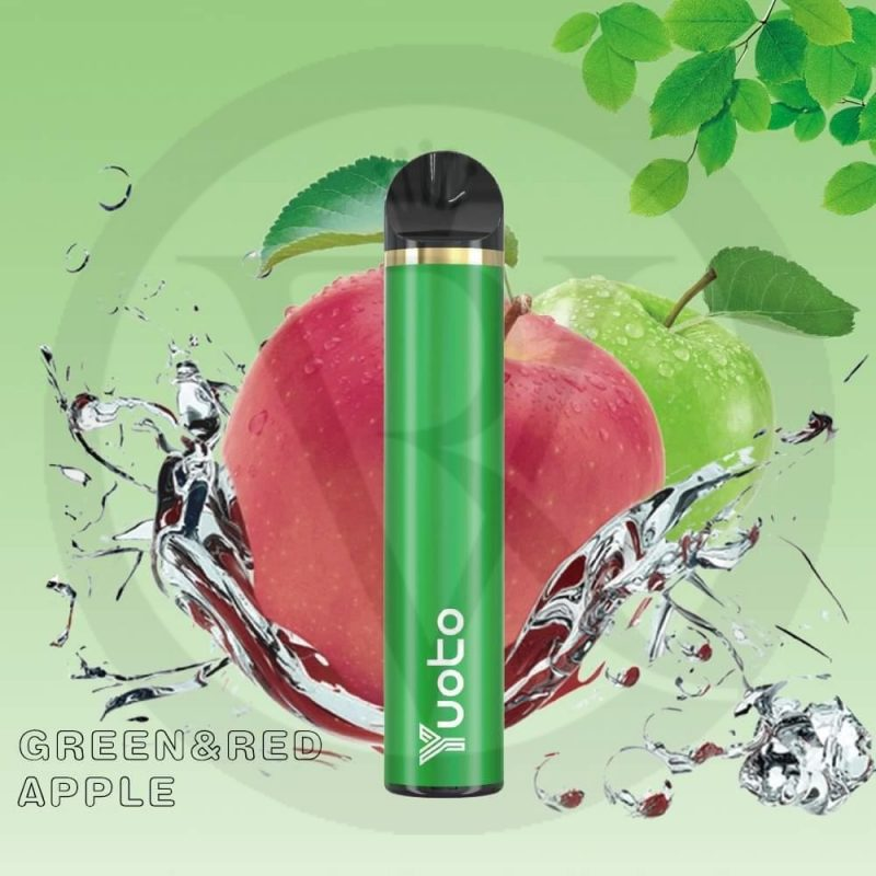 YUOTO DISPOSABLE 1500 PUFFS GREEN AND RED APPLE